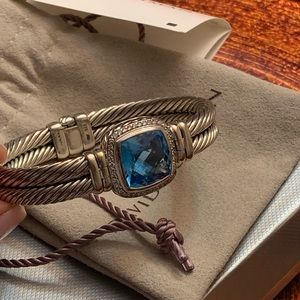 David Yurman SS Albion Diamond Blue Topaz Bracelet